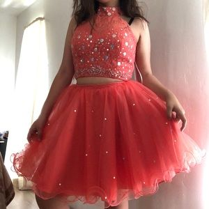 Coral Puffy Two Piece Dress